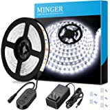 MINGER Dimmable LED Strip Lights White Strip Light LED Mirror Lights Kit for Vanity Makeup Dressing Table 6000K Bright White Daylight, 300 LEDs, 16.4FT Under Cabinet Lighting Strips for Kitchen