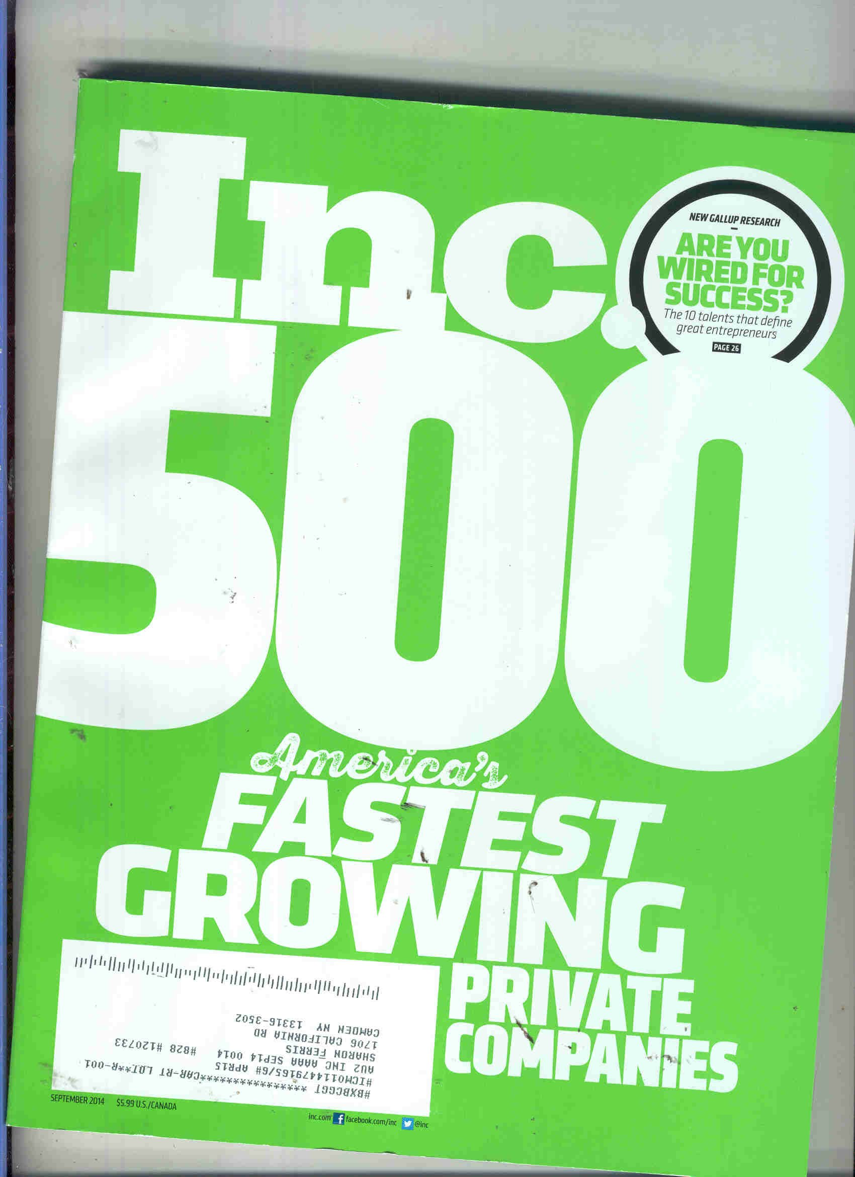 Read Online Inc. Magazine September 2014{500 Fastest Growing Companies Issue} pdf