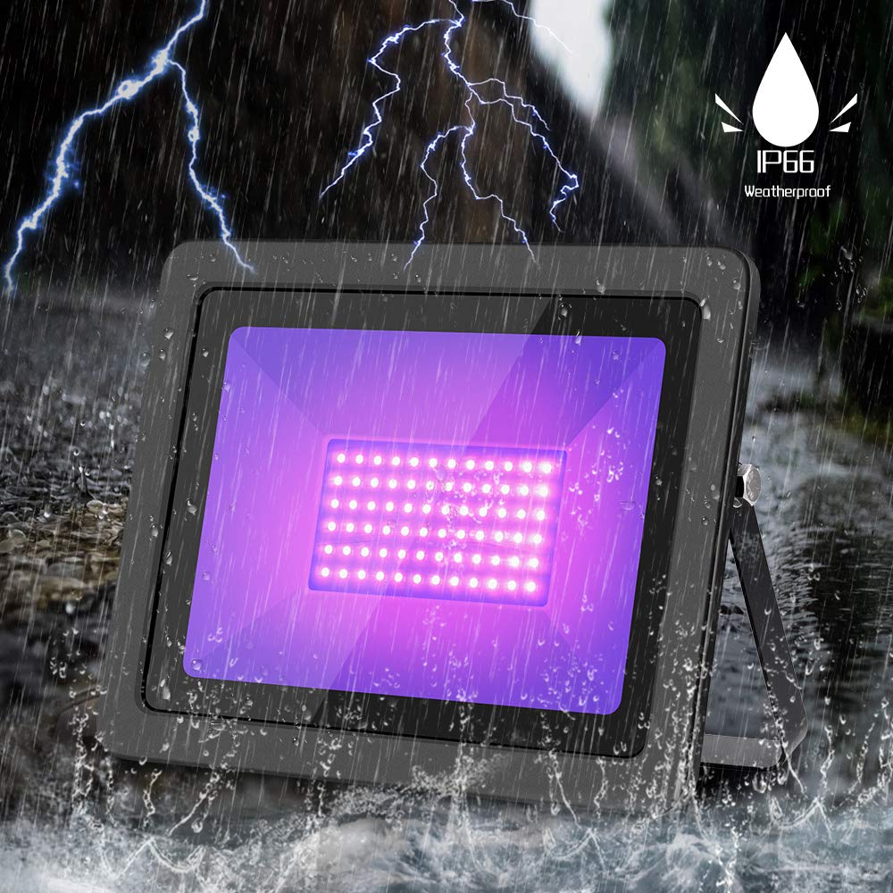 WELKEY PLUS 2 Pack 80W UV LED Black Light Flood Light with Plug(6ft Cable), IP66 Waterproof, for Blacklight Party, Stage Lighting, Aquarium, Body Paint, Fluorescent Poster, Neon Glow, Glow in The Dark by Welkey Plus (Image #8)