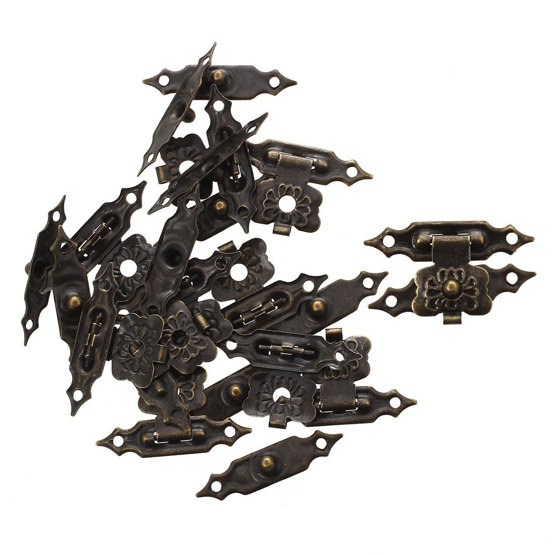 Cerradura de resorte - SODIAL(R)10 pzs Conjuntos de pestillo de cajas de madera antiguo Cierre de cajas de bronce 3cm largo