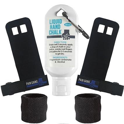 Pain Gains - Kit de Agarres de Entrenamiento para Gimnasia CrossFit Gym Hand Grips - Soporte