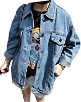 Womens Retro Lapel Loose Fit Washed Old Casual Button Down BF Denim Jacket Coat