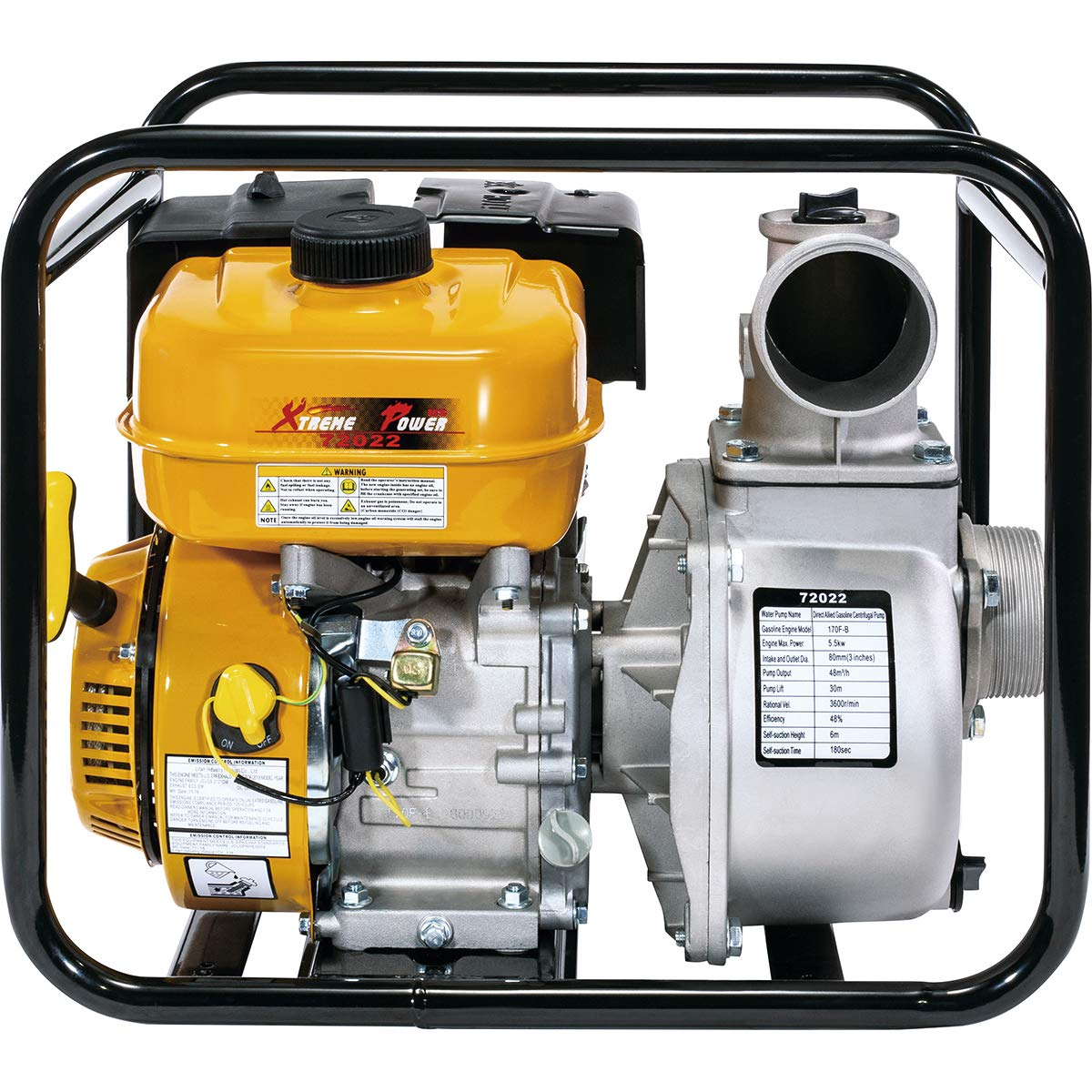 XtremepowerUS 7HP 3'' inch Gas Water Pump Gas-Powered Transfer Pump Lifan Engine Portable Gasoline Recoil, Yellow