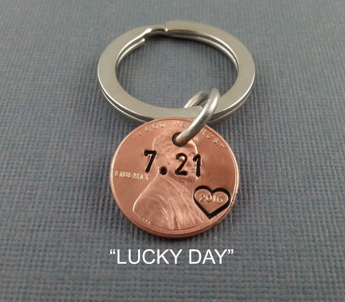 Amazon.com  Lucky Day Keychain - Lucky Us - Personalized Keychain - Wedding  date - Hand Stamped - Anniversary Keychain - Husband Gift - Wife Gift -  Penny ... 3e15e3256e92