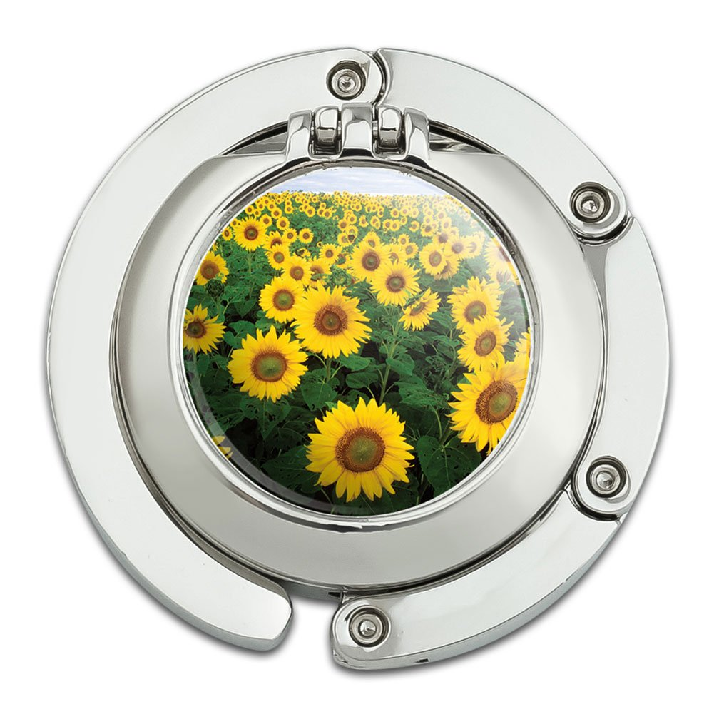 Field of Sunflowers Foldable Table Bag Purse Caddy Handbag Hanger Holder Hook with Folding Compact Mirror