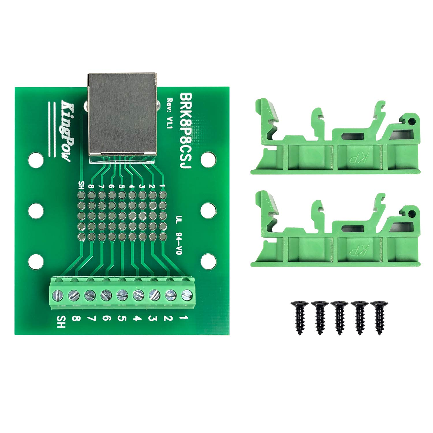 RJ-45-Terminal-UP RJ-45//8P8C to Screw Terminal Adaptor Connector Breakoutout Board for Ethernet DMX-512 RS-485 RS-422 RS-232