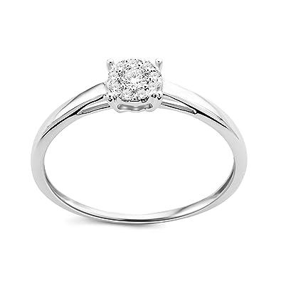 DIAMADA Femme Or Blanc en Diamant Solitaire Bague 9kt (375) Brillant 0.1cts  - 3dcc67157744