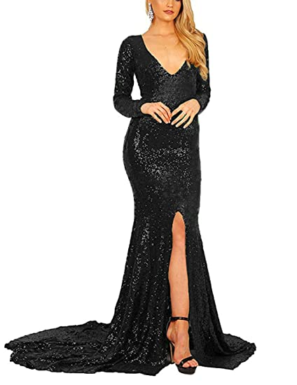 Stillluxury Evening Dresses Long Sleeves Split Front Slit Sequin Mermaid Gown Women Formal Black Size 6