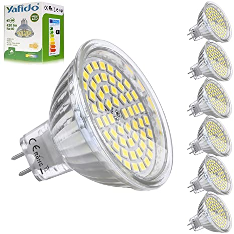 Yafido 6x MR16 GU5.3 LED 12V Bombilla 5W Blanco Neutro Natural Equivalente a Halogeno