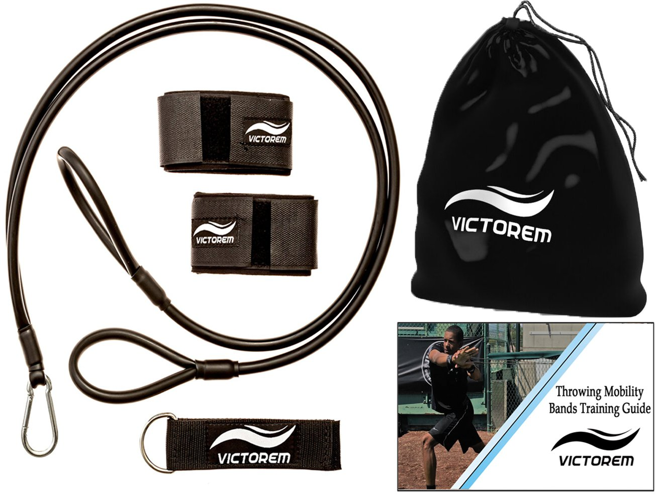VICTOREM Throwing Mobility Bands – Bonus Carrying Bag, Connecting Strap, Workout Guide – Baseball, Softball, Quarterback, Exercise Resistance Bands – Arm Strength, Conditioning, Warmup - PT