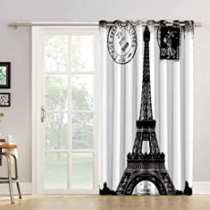 "Futuregrace Window Decor Vintage Blackout Curtains, Paris Eiffel Tower Black White Livingroom Bedroom Darkening Window Draperies & Curtains for Sliding Glass Door Home Office Decor 52"" W by 84"" L"