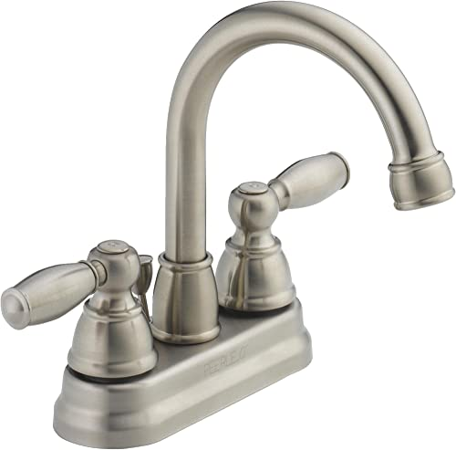 Centerset Bathroom Faucet with Double Handles Finish Brushed Nickel