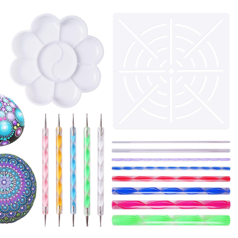 Mandala Dotting Tools for Painting Rocks Pen Dotting Tools Mandala Stencil Brush Set 15 PCS FittiDoll