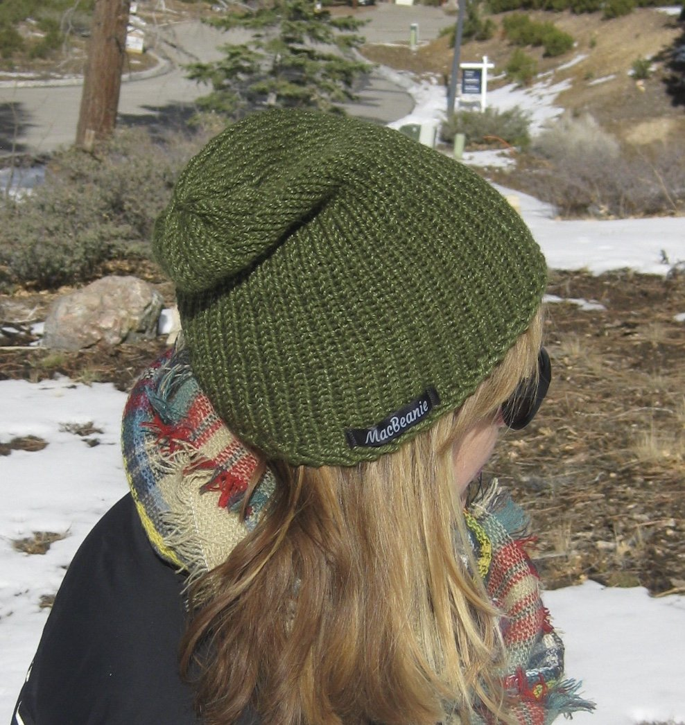 Womens Handmade Olive Green Alpaca and Silk Slouchy Beanie Hat