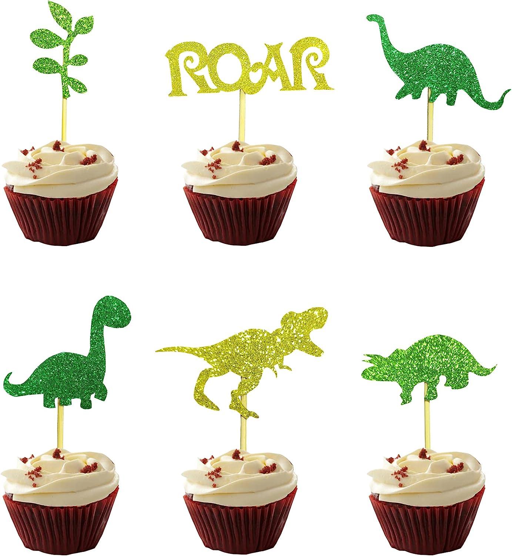 24 PCS Glitter Dinosaur Cupcake Toppers for Kids Boy Birthday Baby Shower Dinosaur Birthday Decors