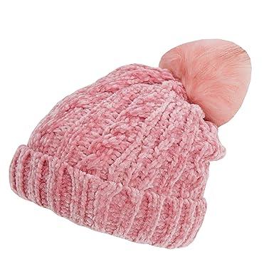 e08a0708c27 Foxbury Womens Ladies Chenille Hat with Faux Fur Bobble (One Size) (Dusty