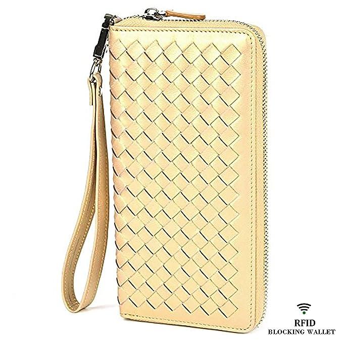 Lackingone RFID - Cartera de piel para mujer (tamaño grande, hecha a mano) - Dorado - Large: Amazon.es: Ropa y accesorios