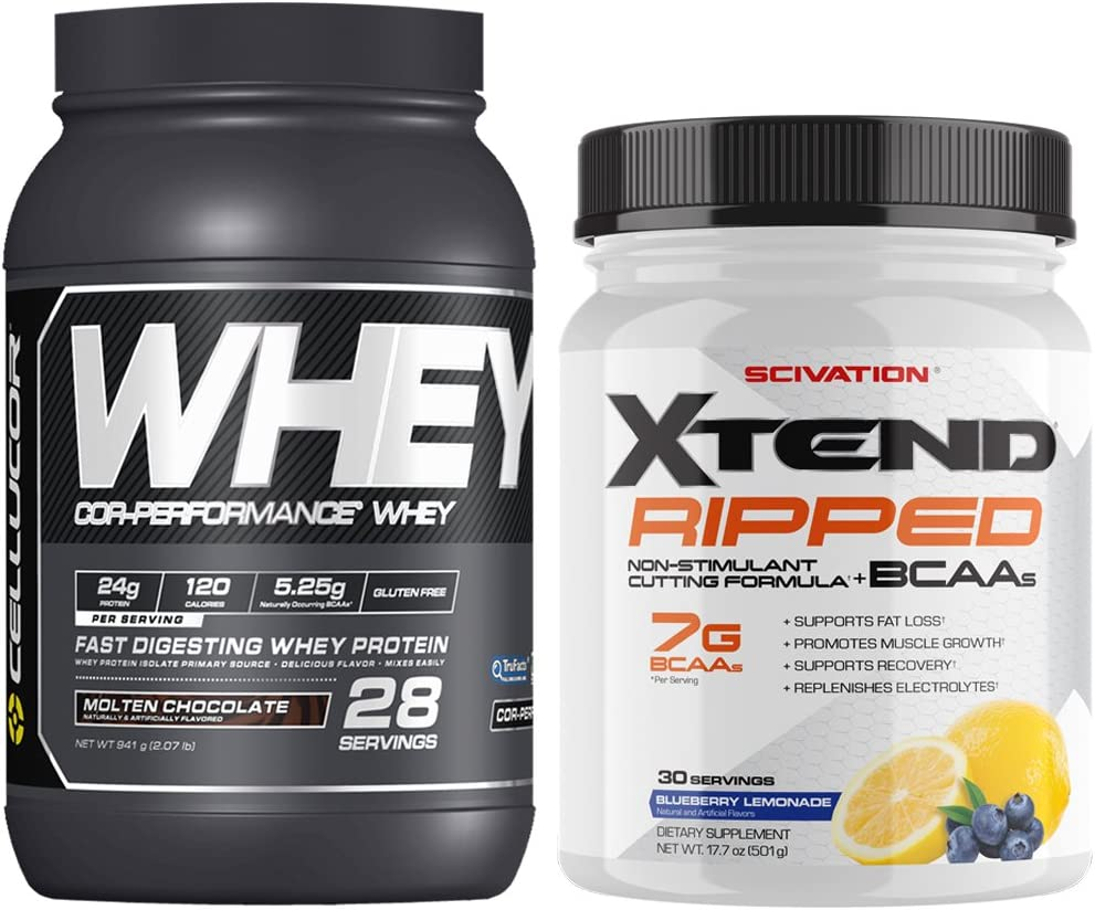Scivation Xtend Ripped BCAA Powder, Blueberry Lemonade, 30 Servings + Cellucor Cor-Performance Whey Protein, Molten Chocolate, 2lbs