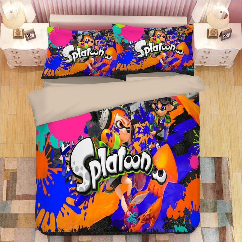 shirlyhome Duvet Cover Sets Splatoon 3D Printed 3 Piece Set,1 Duvet Cover + 2 Pillowcases F-Full203cmx228cm by shirlyhome