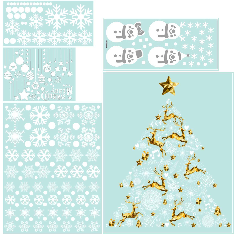 WAVEJOE 300pcs Snowflake Window Clings, Christmas Tree Clings, Snowman Clings, 2019 New Year Window Stickers