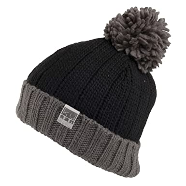 18754572faa Kusan Hats Short Bobble Hat - Black-Grey 1-Size  Amazon.co.uk  Clothing