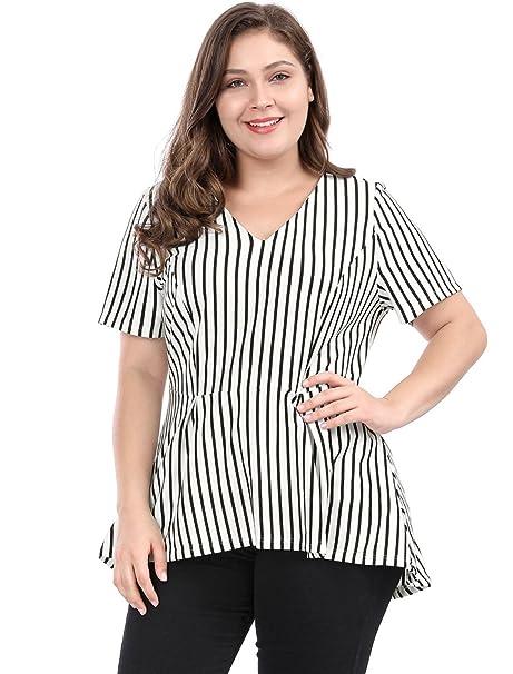 8c58687a1281f Agnes Orinda Women s Plus Size Summer V-Neck Striped Peplum Top 1X White