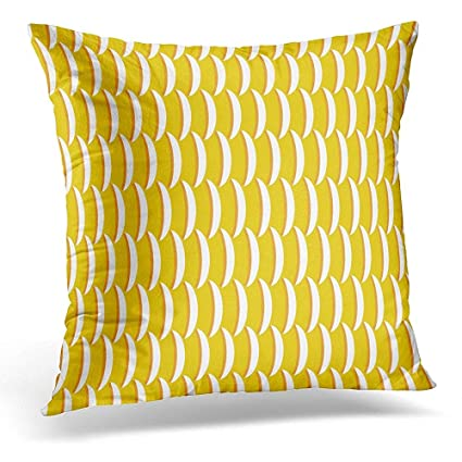 Amazon Throw Pillow Cover Bright Yellow Fish Scales Ocean Enchanting Bright Yellow Decorative Pillows