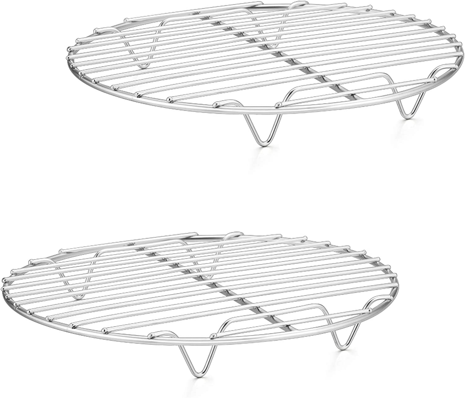 P&P CHEF Cooking Rack Round, 9-Inch Stainless Steel Round Rack for cooking Cooling Steaming Baking, Fit Air Fryer Stockpot Pressure Cooker, 2 PACK -Oven & Dishwasher Safe