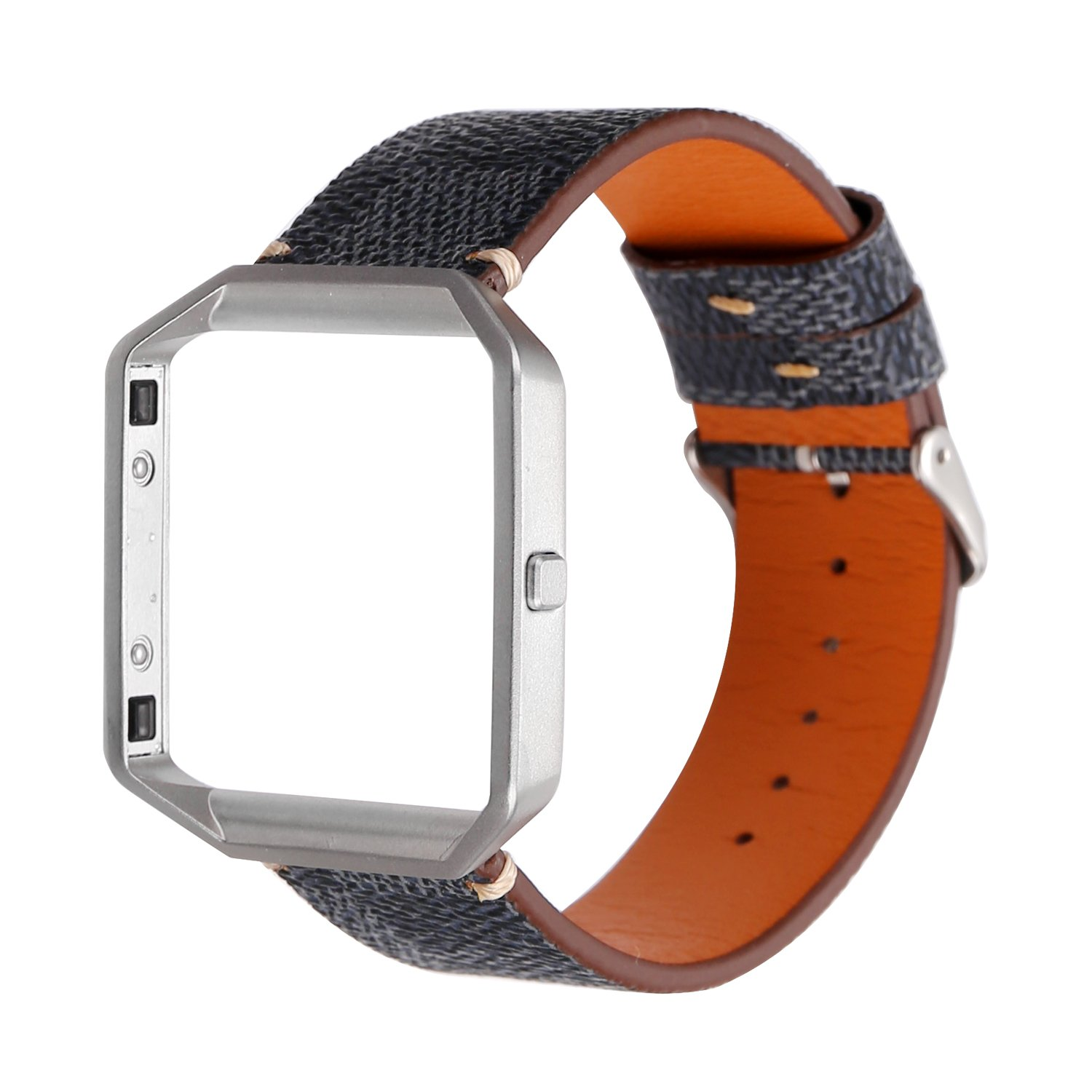 MeShow TCSHOW Soft PU Leather Plaid Tartan Style Replacement Strap Wrist Band Metal Adapter Compatible Fitbit Blaze (F) by MeShow