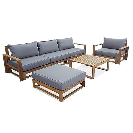 Alices Garden - Conjunto de jardín 5 plazas - Mendoza - Cojín color gris, sofá, sillones y mesa centro de acacia, 6 elementos modulares