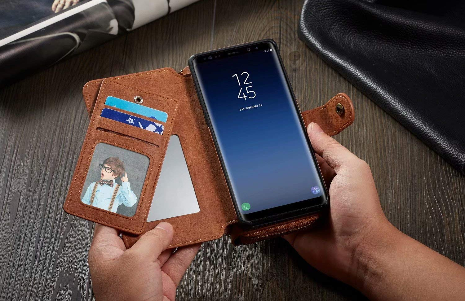 ... Detachable PU Leather Card Slots Mirror Zipper Wallet Flip Protective Case Cover Multi-Function Purse Pouch with Wrist Strap for Samsung Galaxy Note 9 ...