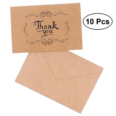 LUOEM 10 tarjetas de agradecimiento para boda, papel kraft ...