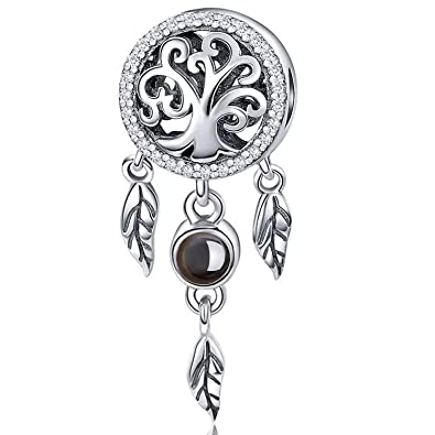 0a57bf346f01b MallDou Jewelry 925 Sterling Silver Charm fit Pandora Charms Bracelet  Necklace Dog Paw Cute Cat Charm 100 Languages Projection Dream Catcher Charm