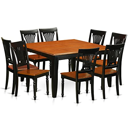 East West Furniture PFPL9-BCH-W 9 Pc Dining Room Set-Dining Table and 8 Wooden Dining Chairs