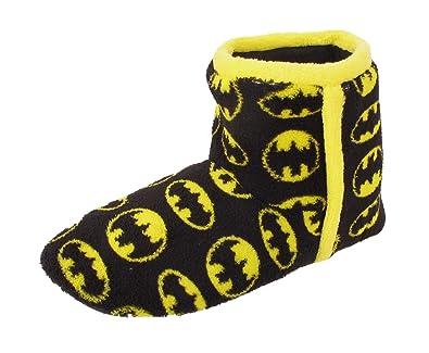 d9425b0321c5 Batman Boys Mens Slipper Boots Fleece Slip On Novelty Boot Slippers Winter  Warm Black Yellow (