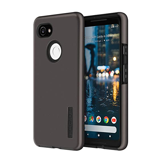 buy popular 9ced0 3b2af Incipio DualPro Google Pixel 2 XL Case with Shock-Absorbing Inner Core &  Protective Outer Shell for Google Pixel 2 XL - Gunmetal