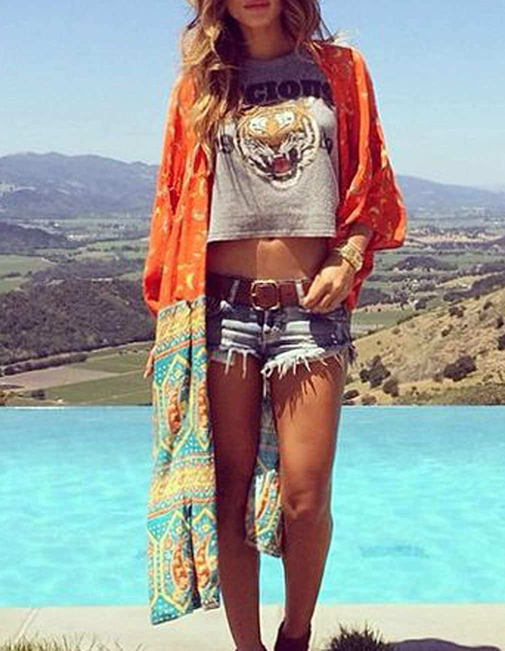 6bbf53f80 Sanifer Women's Boho Floral Printed Open Front Swimsuit Cover up Plus Size  Long Beach Cover up Kimono (Dark Orange, One Size) at Amazon Women's  Clothing ...