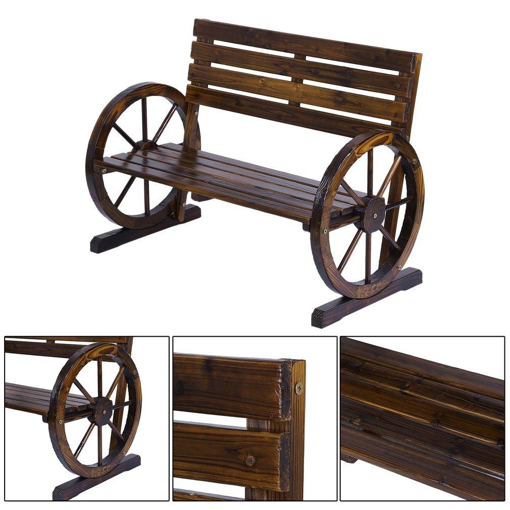 Homgrace Patio Garden Wooden Wagon Wheel Bench, Rustic Wood Design Outdoor Wagon Wheel Bench Outdoor Furniture Decor (Tan color)