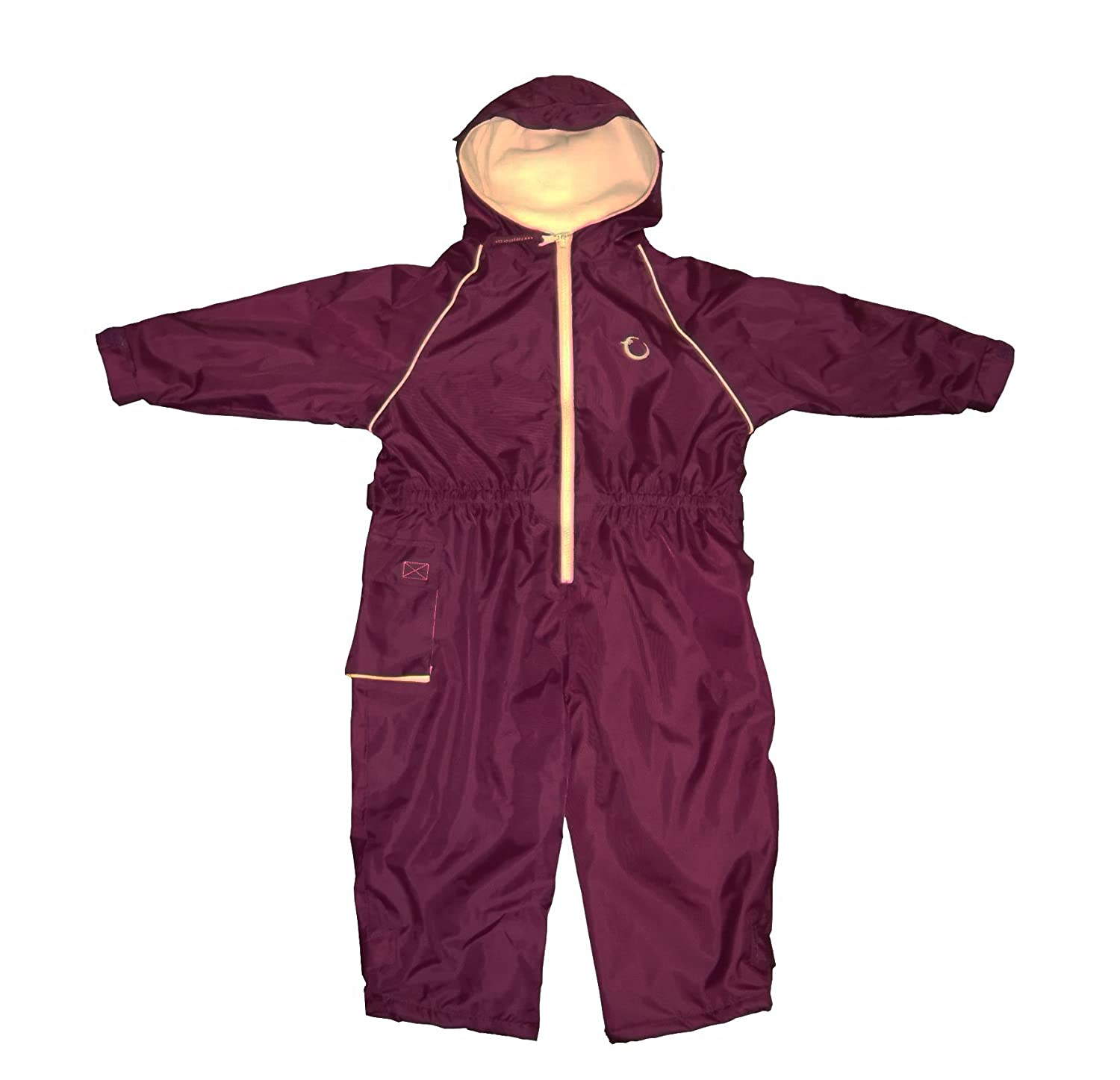 Hippychick Fleece Lined Waterproof All-in-One Suit - Burgundy/Sand, 3-4 Years HWNFBS3-4