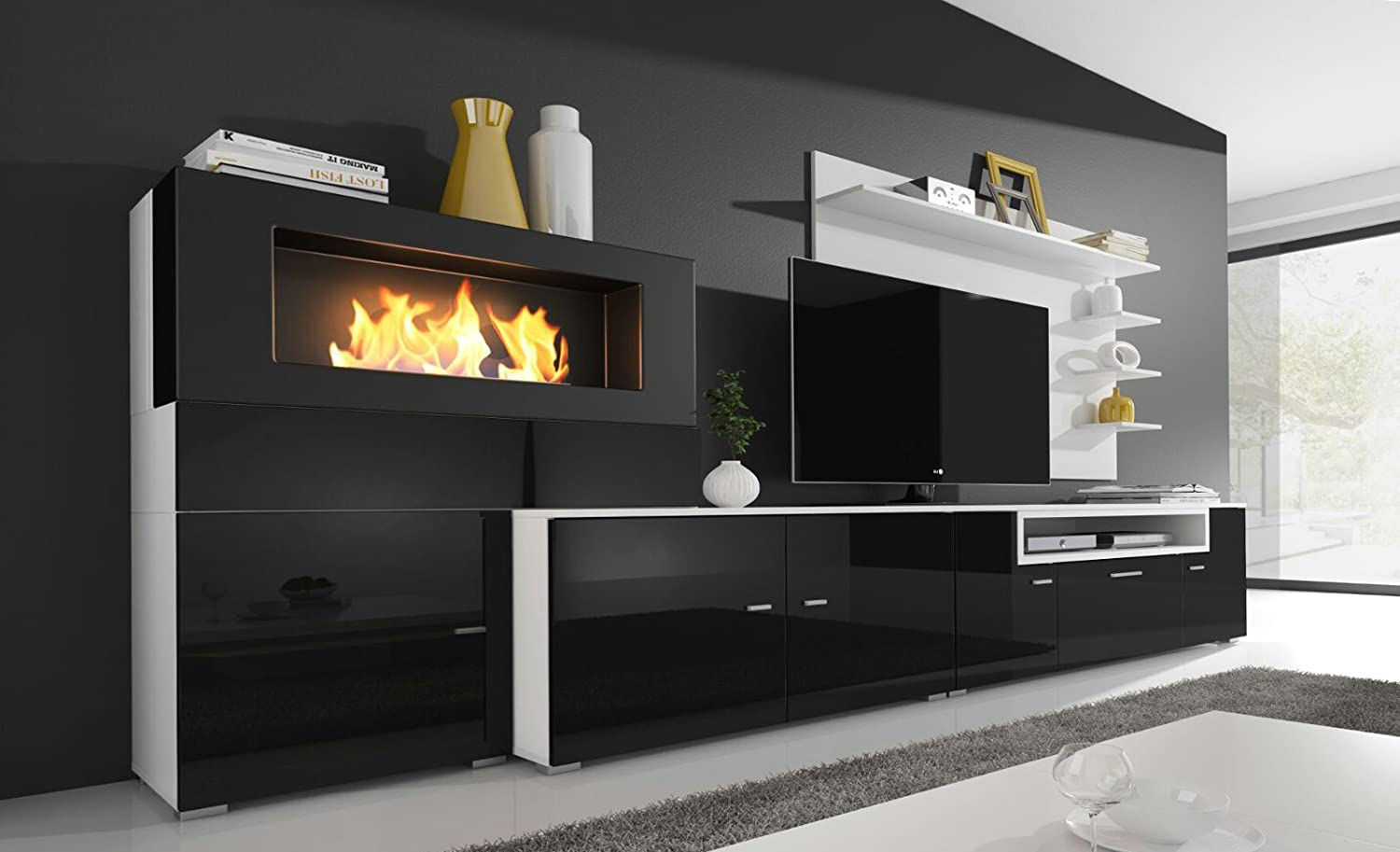 Home Innovation Living Room Set With Bioethanol Fireplace  # Meuble Tv Olympo