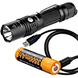 Fenix PD35 TAC (PD35 Tactical) 1000 Lumens XP-L LED Flashlight, Fenix 3500mAh 18650 USB Rechargeable Battery, & LumenTac USB Charging Cable