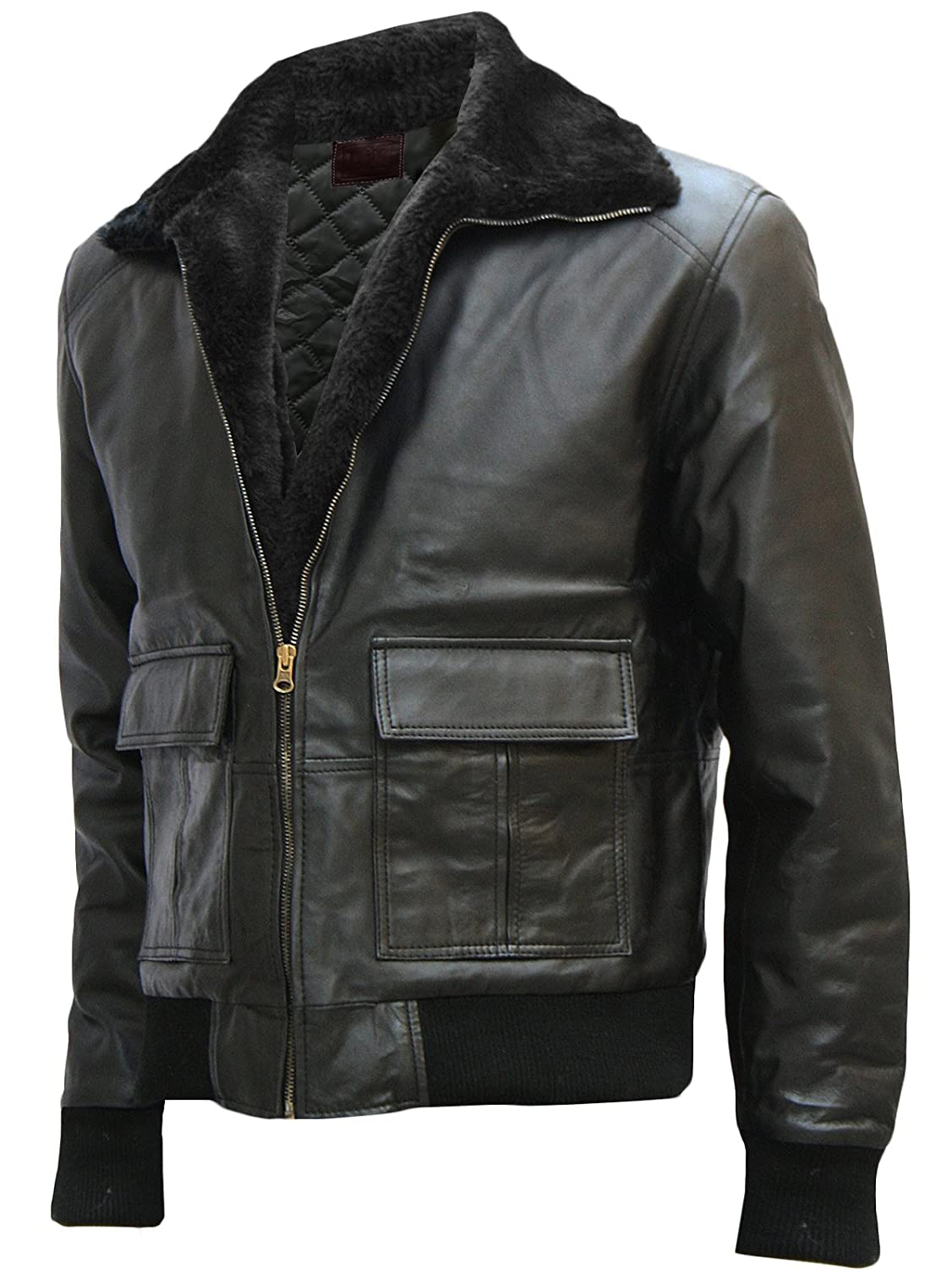 Winter Special Fur Collar Black Bomber Jacket for Men