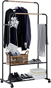 YOUDENOVA Clothes Rack on Wheels, Double Rails Rolling Clothing Rack with Shelves, Clothes Rack for Hanging Clothes, Black Garment Rack, Hanging Wardrobe Rack