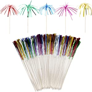 Floranea 50 Foil Frill Pcs Firework Cupcake Toppers 8.6 Inch Tree Shape Toothpick Stick for Food Baby Shower Parties Supplies Christmas Birthday Wedding Halloween Cake Decoration