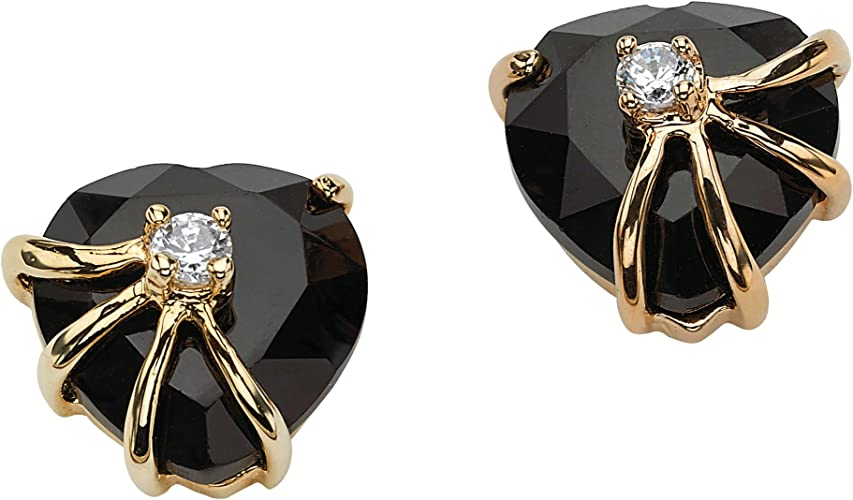 Round Cubic Zirconia Vintage Filigree Curve Stud earrings 14k Gold Plated