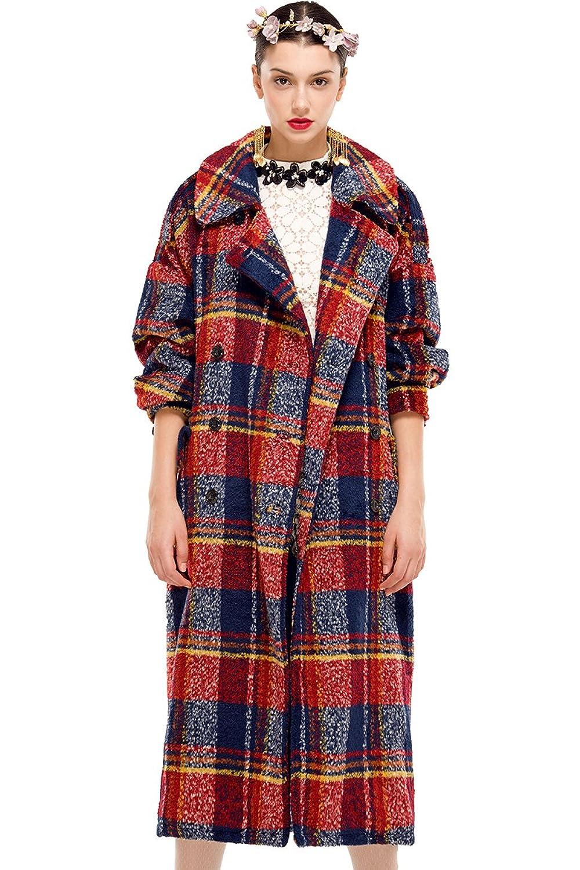 YIGELILA Women's Winter Plus Size Wool Double Breasted Plaid Coat with Belt