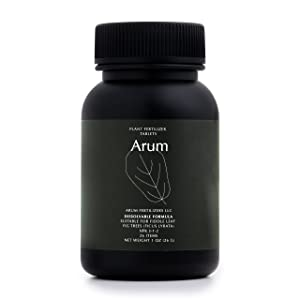 Arum Premium All-Purpose Indoor Plant Fertilizer Plant Food Tablets for Fiddle Leaf Fig, Ficus and Hard Leaved Plants. 26 Tablets. Easy to Use. Odor Free. No Mess. Rapid Absorption. All Natural.