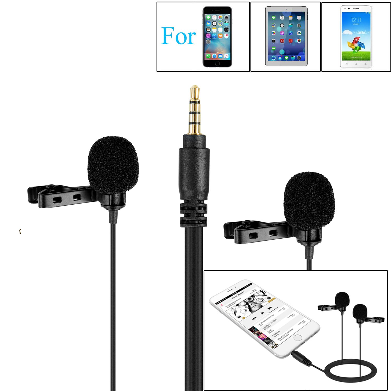 236''/6m BOYA BY-M1 Omnidirectional Lavalier Condenser Recording Microphone for Canon Nikon Sony DSLR Camera IOS Android Smartphone iPhone 8 8 plus 7 7 plus 6 6s Plus Camcorder Audio Recorder Youtube Podcast Interview Video BY--M1