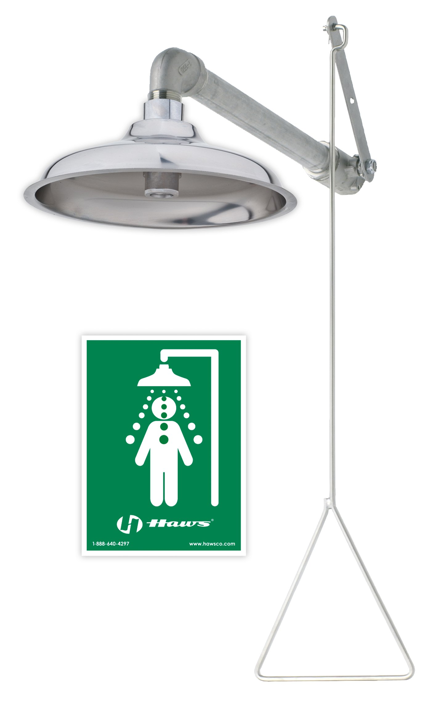 Haws 8133H Stainless Steel Corrosion-resistant, all stainless steel horizontal supply drench shower. 8133H