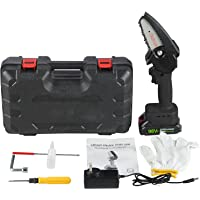 4-Inch Mini Cordless Electric Chainsaw With protective baffle plate, One-Hand hold Portable Handheld Saw with…